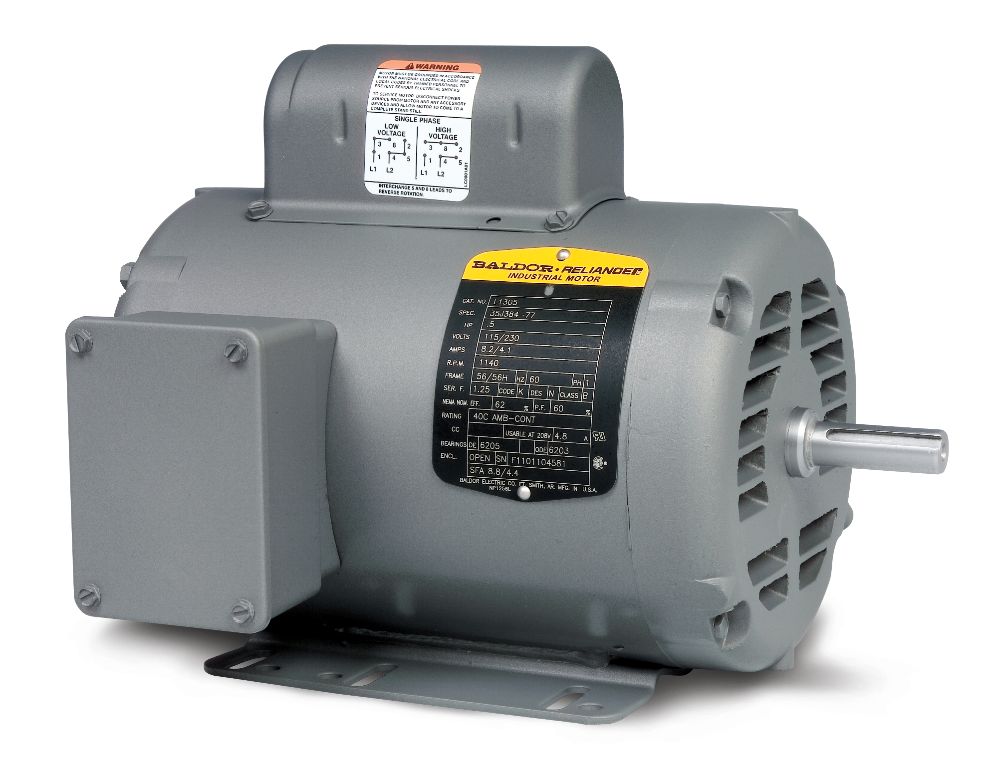 Baldor-Reliance L1304 AC Motor, 115/230 VAC, 3.7/7.4 A, 56 Frame, 0 on
