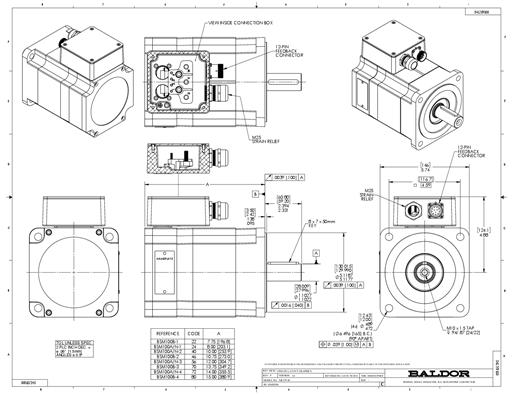 Baldor servo motor BSM100N-4250AA, 1200rpm, 230/460v, TENV